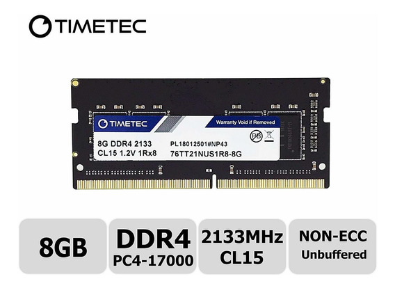 Memoria Ram 8gb 2133mhz Pc4-17000 Unbuffered Non-ecc 1.2v Cl15 1rx8 Single Rank 260 Pin Sodimm Timetec Hynix Ic