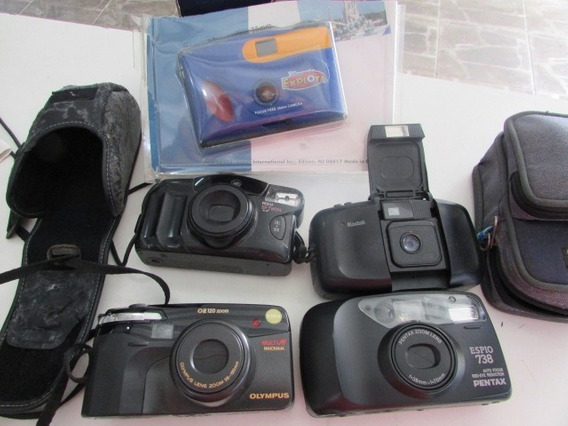 R/m Lote 5 Maquinas Fotográficas Antigas Olympus Kodak Canon