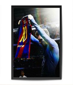 Quadro Messi Barcelona Barça Vidro Moldura Placa Fut