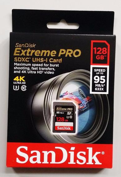 Cartão Sd Sandisk Extreme Pro 128gb 95mb/s U3 C10 4k Lacrado