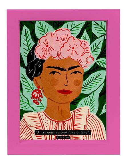 Cuadro Frida Kahlo Fucsia 15x21 Decoración Morph