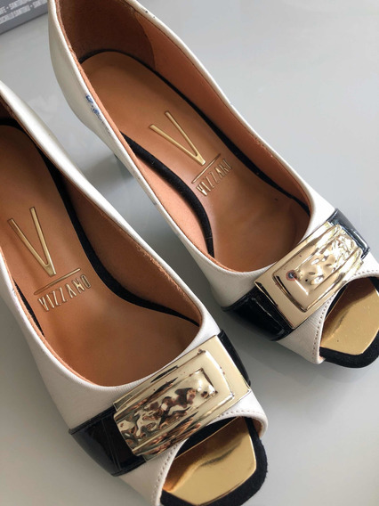 Sapato Vizzano No33 Peep Toe Salto 5cm Offwhite