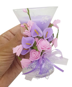 Vela Decorativa Media Kit 8 Festa 15 Anos Flor Enfeite Lilas