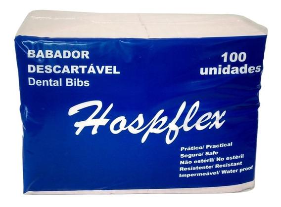 Babador Descartável Impermeável Pacote C/100 Uni Hospiflex