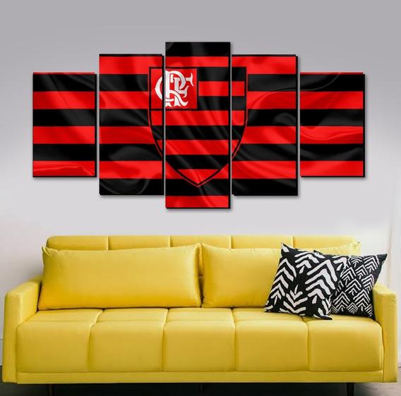 Lindo Quadro Painel Em Mdf 5 Partes Flamengo Rubro Negro