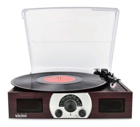 Vitrola Toca Discos Vc-283 Retrô Classico Bluetooth Usb