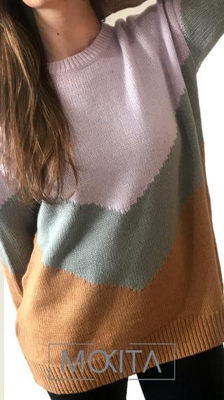 Maxi Sweater Tricolor Tejido De Mohair