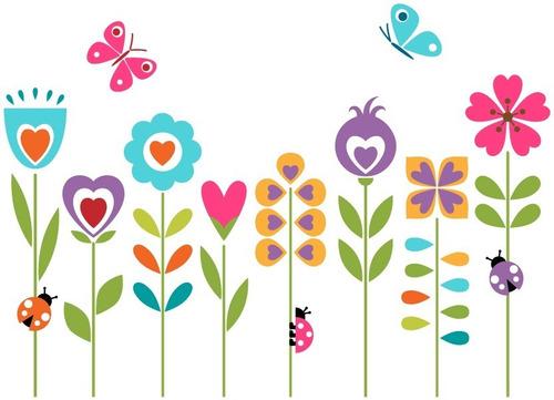 Vinilo Decorativo Floral-i 03. Calcomanía Flores Y Mariposas