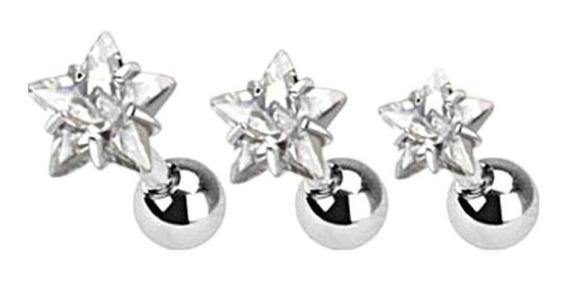Conjunto De 3-size 316l Aço Estrelas Clara Zircão Cartilag