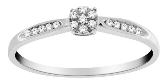 Anillo Para Dama De Oro De 14k Con 17 Diamantes Ghiberti
