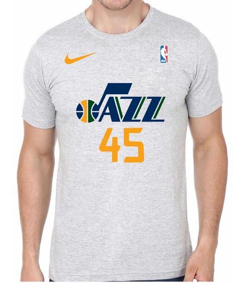 Camiseta Camisa Algodão Utah Jazz 45 Mitchell Basquete Dtg