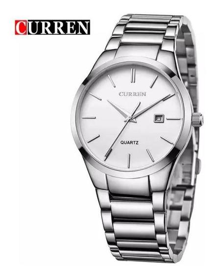 Relógio Masculino Curren M8106 Prata Luxo