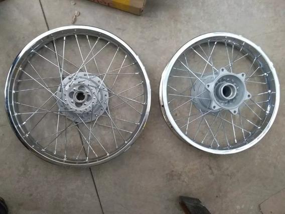 Roda Dianteira + Traseira Montada Bros 125/150 (tambor) Nova