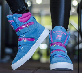 Tenis Sneakers Feminino Bota Treino Fitness Dança Cano Alto