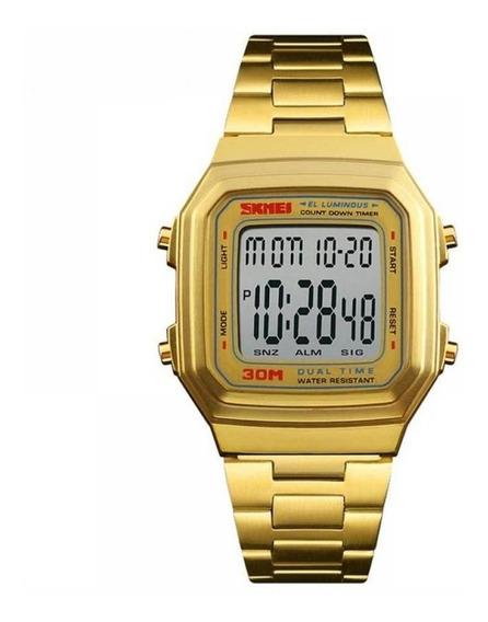 Relógio Unissex Skmei Digital 1337 - Dourado - Vintage- Geek