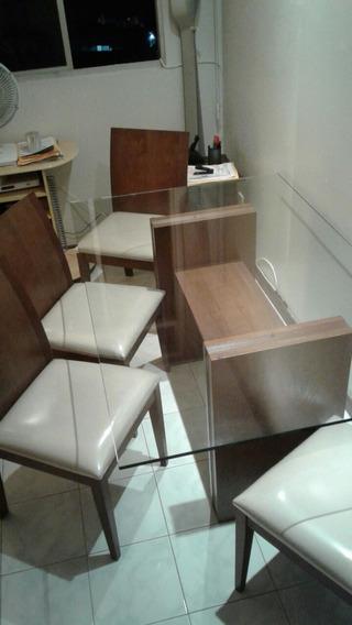 Mesa Com 4 Cadeiras Nova Com Tampo De Vidro.