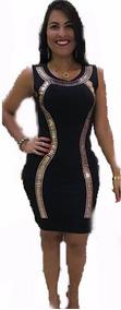 Promocao Vestido Justo Preto Feminino Pedras Mais Bolsa