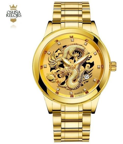 Relogio Feminino Dourado Misto Dragão Aço Inoxidavel Ouro