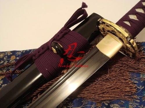 Imagem 1 de 9 de Espada Samurai Lâmina Negra Aço Dobrado Forjado Tradicional
