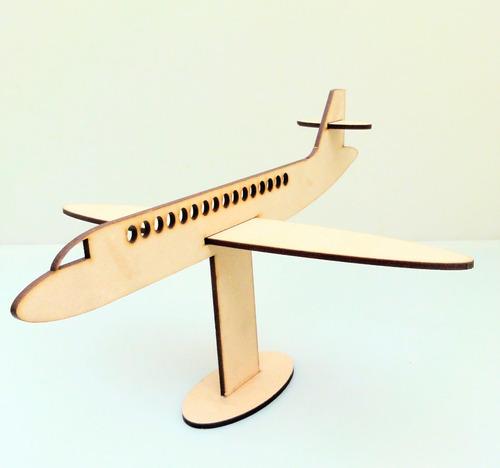 Imagen 1 de 7 de Avión Souvenir Con Base - Mdf / Fibrofacil