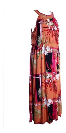 Vestido Longo Plus Size Verão Roupa Feminina #089