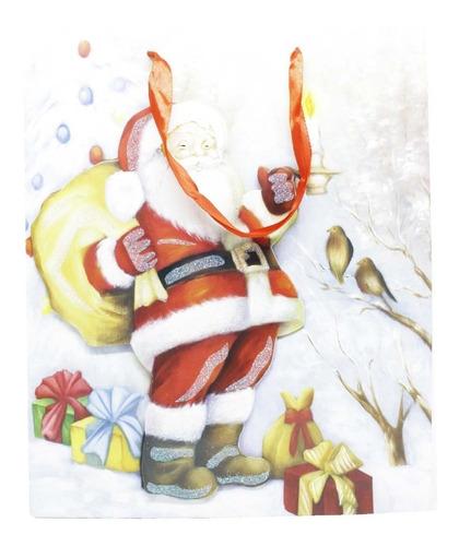 10 Sacolas De Natal Estampas Com Glitter - 26 X 32 Cm