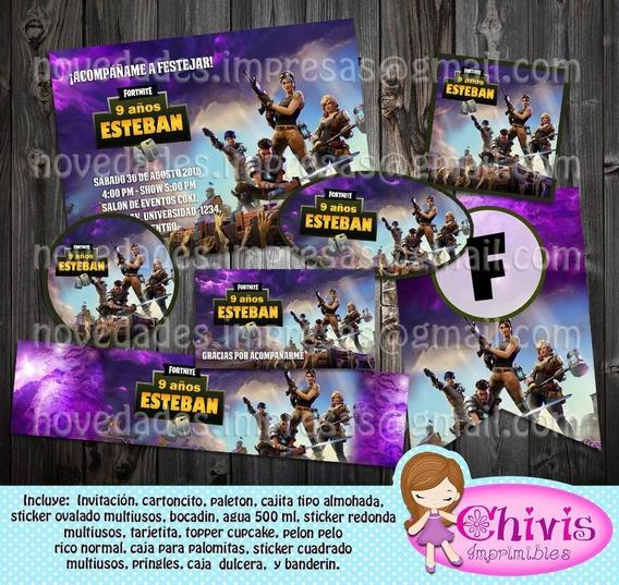 Kit Imprimible Fortnite Completo Invitacion Banderin Sticker