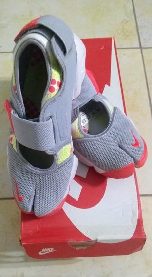 Zapatillas Nike Air Rift Gris Y Naranja Talle 37 Un Sólo Uso