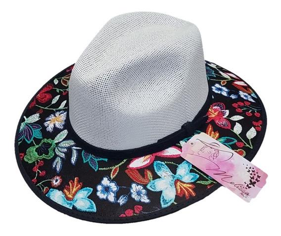 Sombrero Explorer De Dama Con Flores Vintage