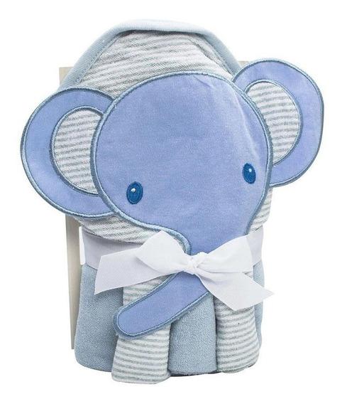 Kit Toalha Bebê Bordada Com Capuz E 3 Panos De Boca Elefante