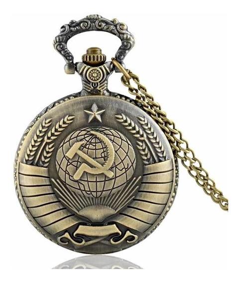 Relógio De Bolso Soviético Luxo C/ Corrente Retro Vintage
