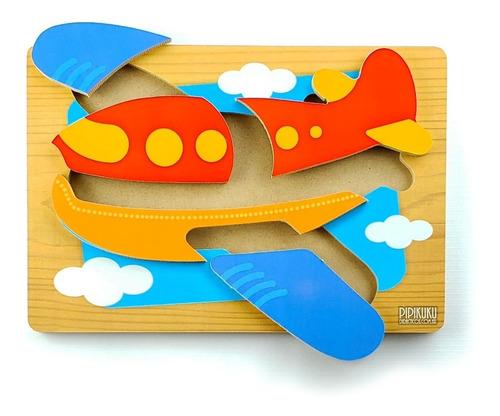 Imagen 1 de 2 de Rompecabezas Avion 5 Piezas De Madera Juego Pipikuku
