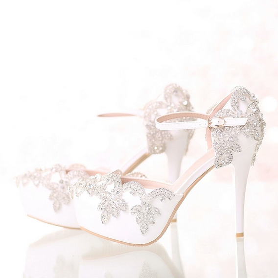 Sapato Salto Alto Casamento Com Strass Importado