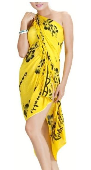Pareo Hawaii Color Amarillo Con Hibiscos