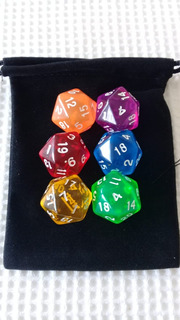 Kit C/ 06 Dados D20 Rpg D&d Magic Mtg + Bolsa