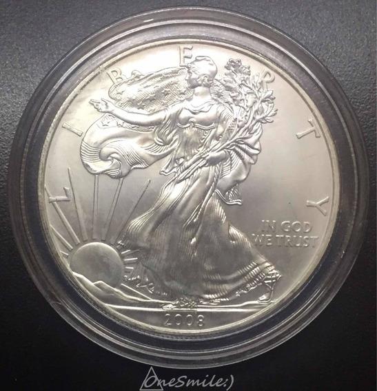 Onesmile :) Moneda American Eagle 1 Onza De Plata Pura 2008