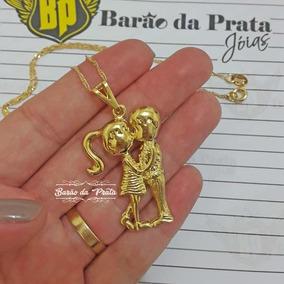 Cordão Feminino 45cm + Pingente Casal Banhados A Ouro 18k