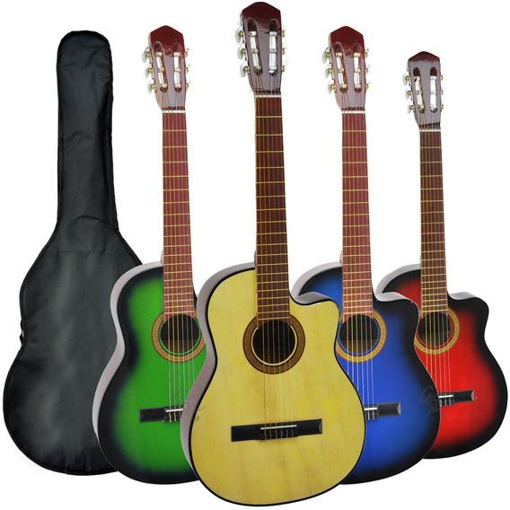 Guitarra Criolla Superior Con Corte Colores + Funda Garantia