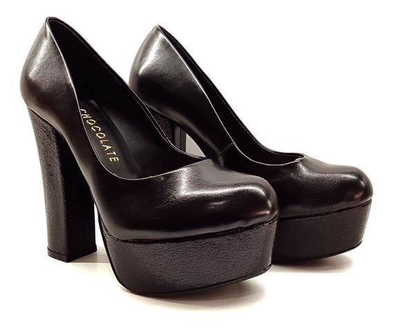 Zapato Stiletto Taco Palo 13 Cm Chocolate Plataforma 4 Cm