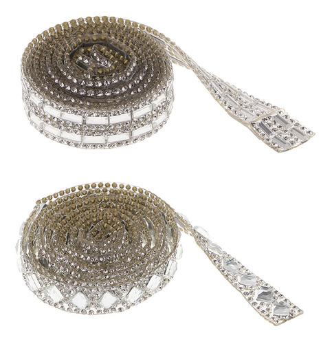 2 Rollos X 1m Cinta Adhesiva De Diamante Artificial Para