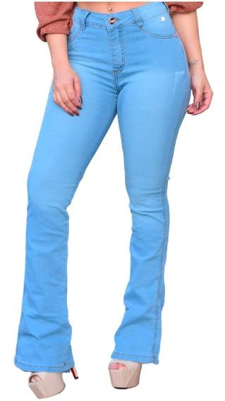 Calça Flare Jeans Feminino Com Lycra A Pronta Entrega
