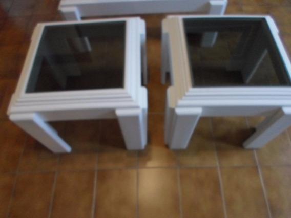 Mesas(par) De Canto/abajur Em Madeira Maciça Branca 50x50cm