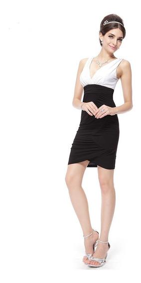 Vestido Blanco Y Negro Corto Xl