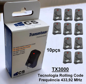 Controle Remoto Cs Rolling Code 433mhz Tx3000 Kit 10pçs