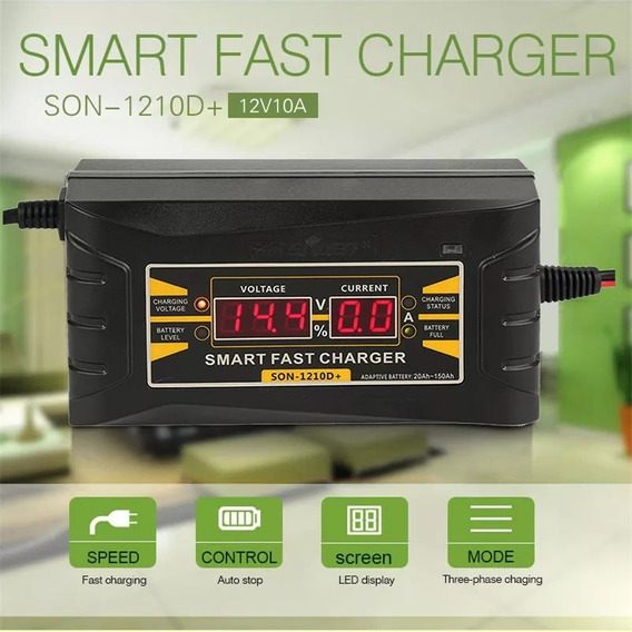 Carregador Bateria Auto Carro 110/220v 12v 10a Digital Smart