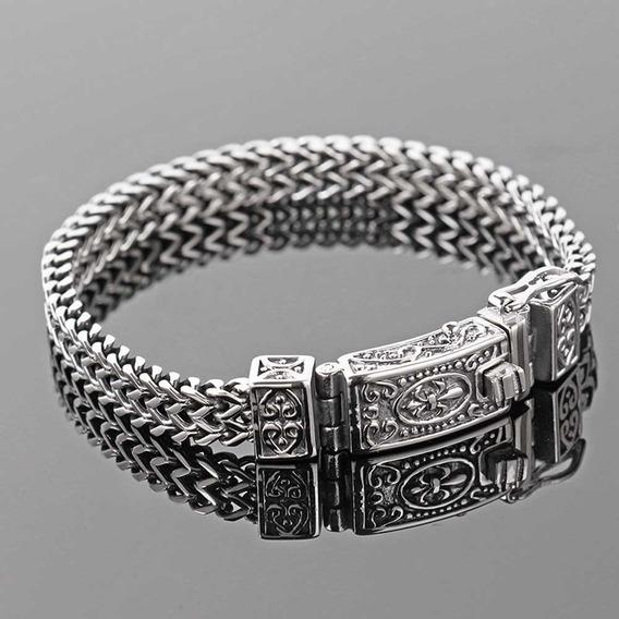 Pulseira Bracelete Masculino Aço Inoxidável Tribal Luxo