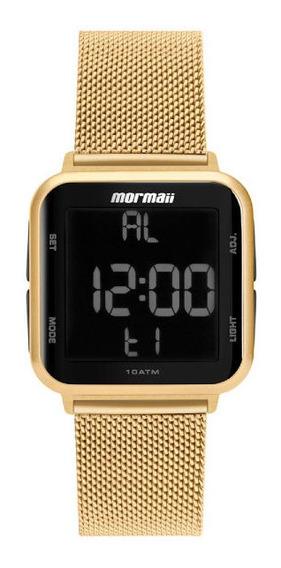 Relógio Mormaii Fem Dourado Mesh Quadrado Digital Mo6600ah8d