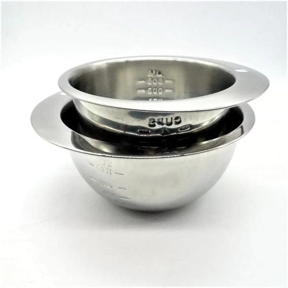 Bowls Con Medida Set X2 Acero Inoxidable Redondos Piu Online