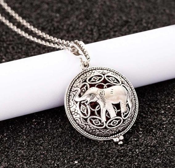 Hermoso Collar Con Dije De Elefante Difusor De Perfume