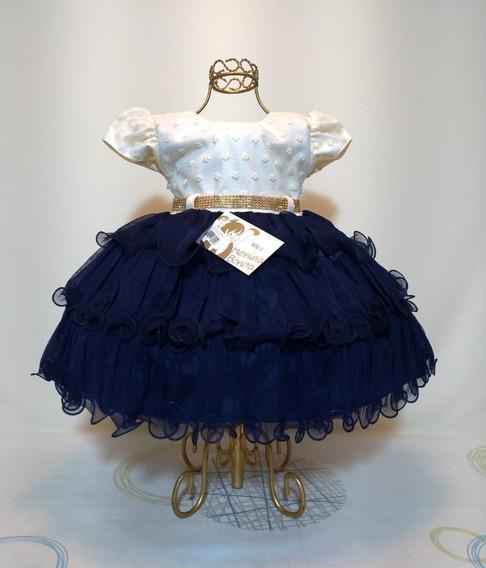 Vestido Azul Marinho Bebê Festa Casamento P M G